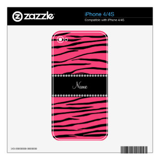 Personalized name pink zebra stripes iPhone 4 skins