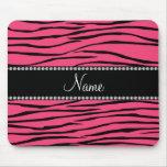 Personalized name pink zebra stripes mousepads