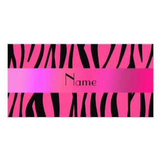 Personalized name pink zebra stripes customized photo card