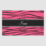 Personalized name pink zebra stripes rectangle sticker