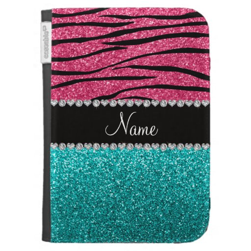 Personalized name pink zebra turquoise glitter case for kindle