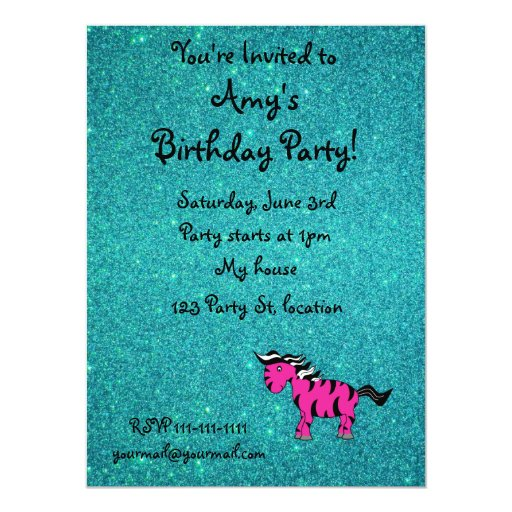 Personalized name pink zebra turquoise glitter announcements