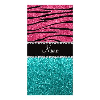 Personalized name pink zebra turquoise glitter photo card