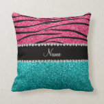 Personalized name pink zebra turquoise glitter throw pillows