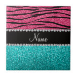 Personalized name pink zebra turquoise glitter ceramic tiles