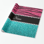 Personalized name pink zebra turquoise glitter wrapping paper