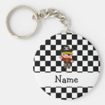 Personalized name pirate black white checkers basic round button keychain