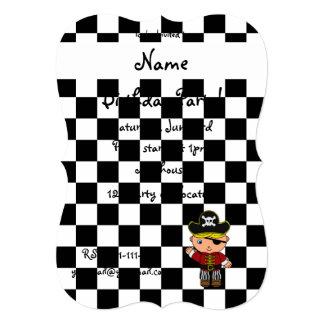 Personalized name pirate black white checkers invitation card