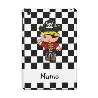 Personalized name pirate black white checkers iPad mini covers