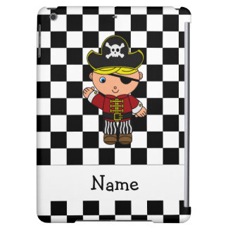 Personalized name pirate black white checkers iPad air cases