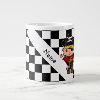 Personalized name pirate black white checkers large coffee mug