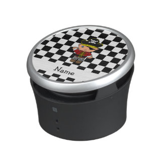 Personalized name pirate black white checkers bluetooth speaker