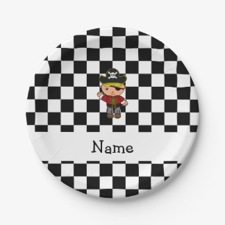 Personalized name pirate black white checkers 7 inch paper plate