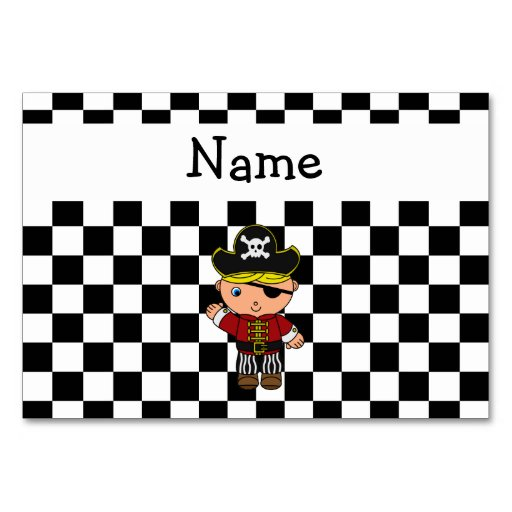 personalized name pirate black white checkers table card