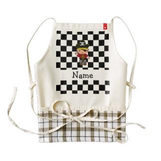 Personalized name pirate black white checkers zazzle HEART apron