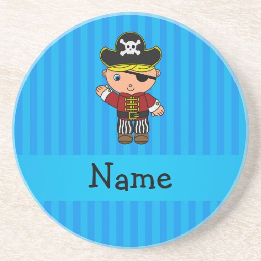Personalized name pirate blue stripes drink coasters