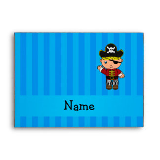Personalized name pirate blue stripes envelope