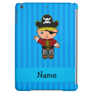 Personalized name pirate blue stripes cover for iPad air