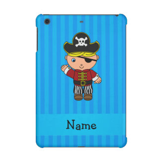 Personalized name pirate blue stripes iPad mini retina cases