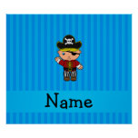 Personalized name pirate blue stripes poster