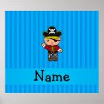 Personalized name pirate blue stripes print