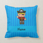 Personalized name pirate blue stripes throw pillow