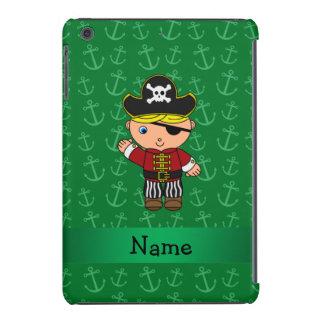 Personalized name pirate green anchors iPad mini retina case