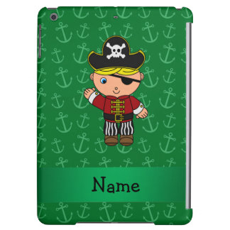 Personalized name pirate green anchors iPad air covers