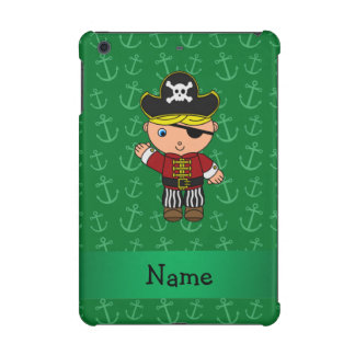 Personalized name pirate green anchors iPad mini retina cases