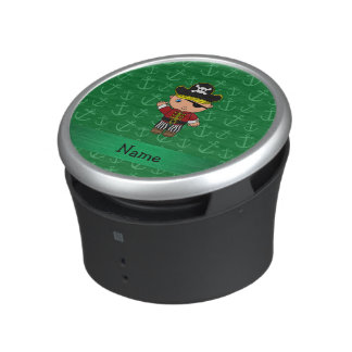 Personalized name pirate green anchors bluetooth speaker