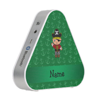 Personalized name pirate green anchors speaker