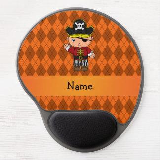 Personalized name pirate orange argyle gel mouse pad