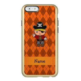 Personalized name pirate orange argyle incipio feather® shine iPhone 6 case