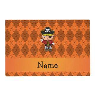 Personalized name pirate orange argyle laminated placemat