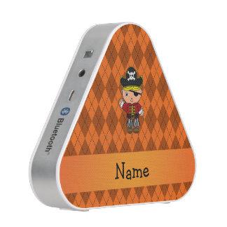 Personalized name pirate orange argyle speaker