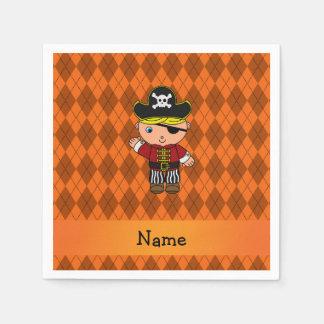 Personalized name pirate orange argyle paper napkin