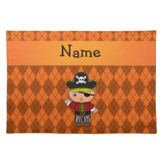 Personalized name pirate orange argyle place mats
