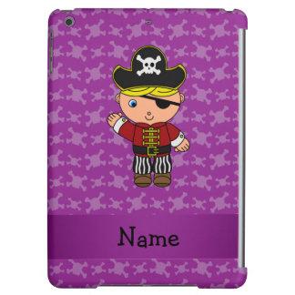 Personalized name pirate purple skulls iPad air case