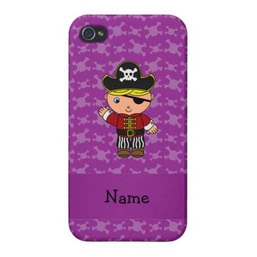 Personalized name pirate purple skulls iPhone 4 case