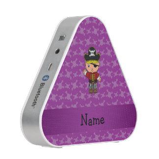 Personalized name pirate purple skulls bluetooth speaker