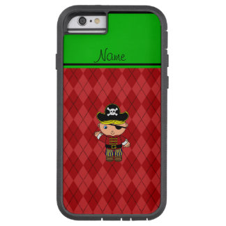 Personalized name pirate red argyle tough xtreme iPhone 6 case