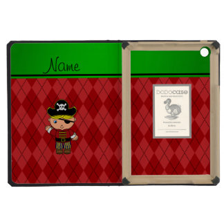 Personalized name pirate red argyle iPad mini retina covers