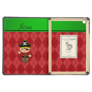 Personalized name pirate red argyle iPad air cases