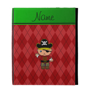Personalized name pirate red argyle iPad folio cover