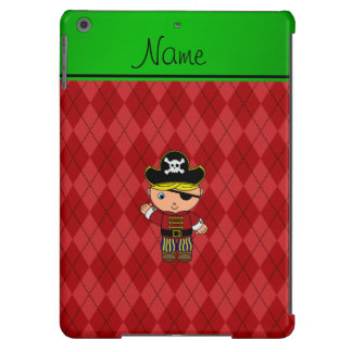Personalized name pirate red argyle cover for iPad air