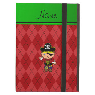 Personalized name pirate red argyle iPad air case