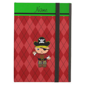 Personalized name pirate red argyle iPad air cover