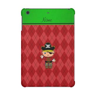 Personalized name pirate red argyle iPad mini case