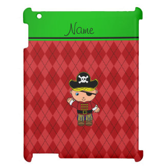 Personalized name pirate red argyle iPad covers