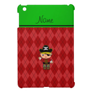 Personalized name pirate red argyle case for the iPad mini